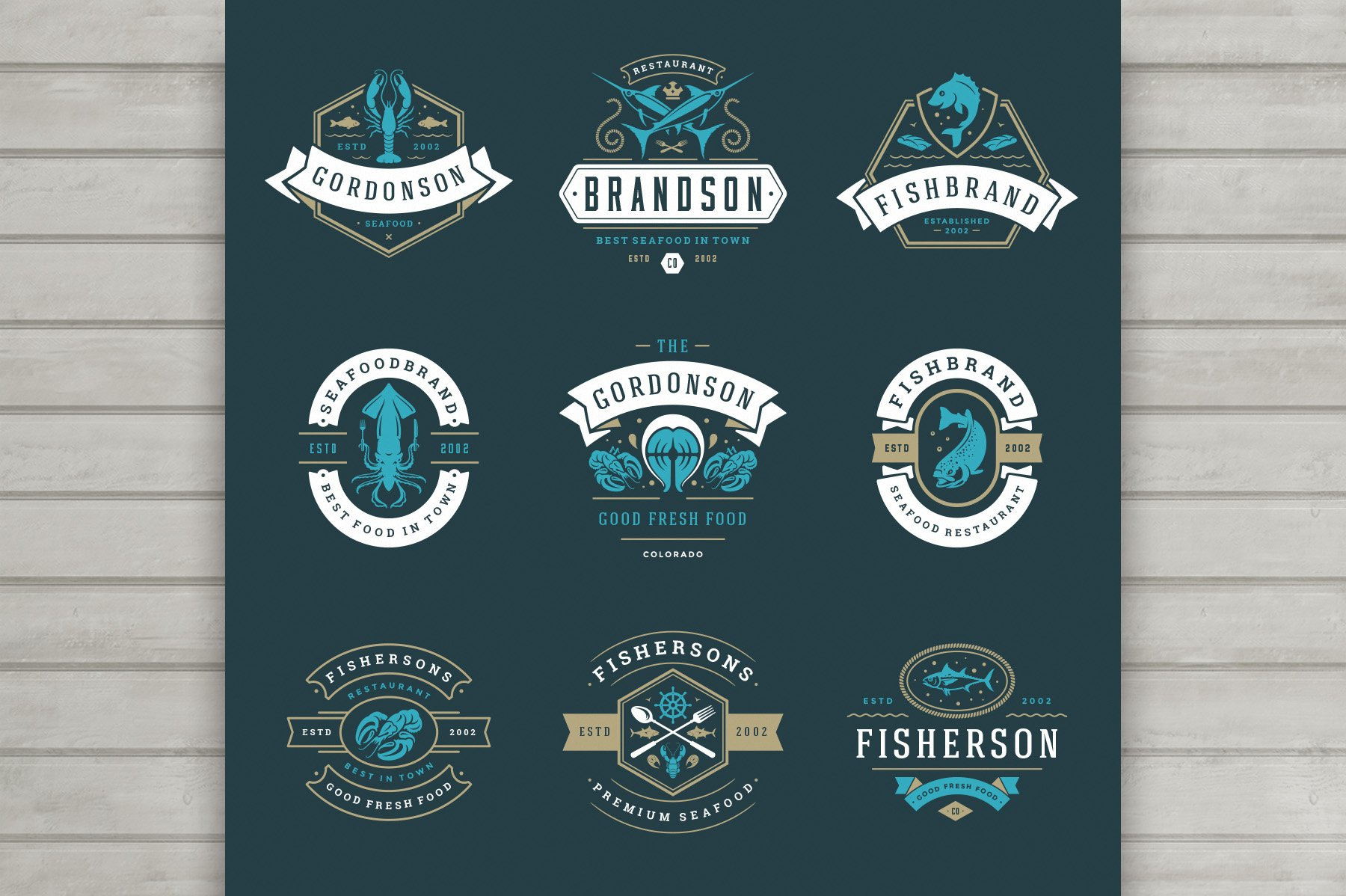 18 Seafood Logos & Badges example image 4
