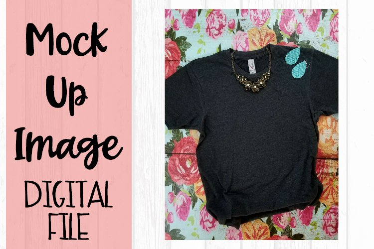 Charcoal Tee on Floral Background V2 Mock Up example image 1