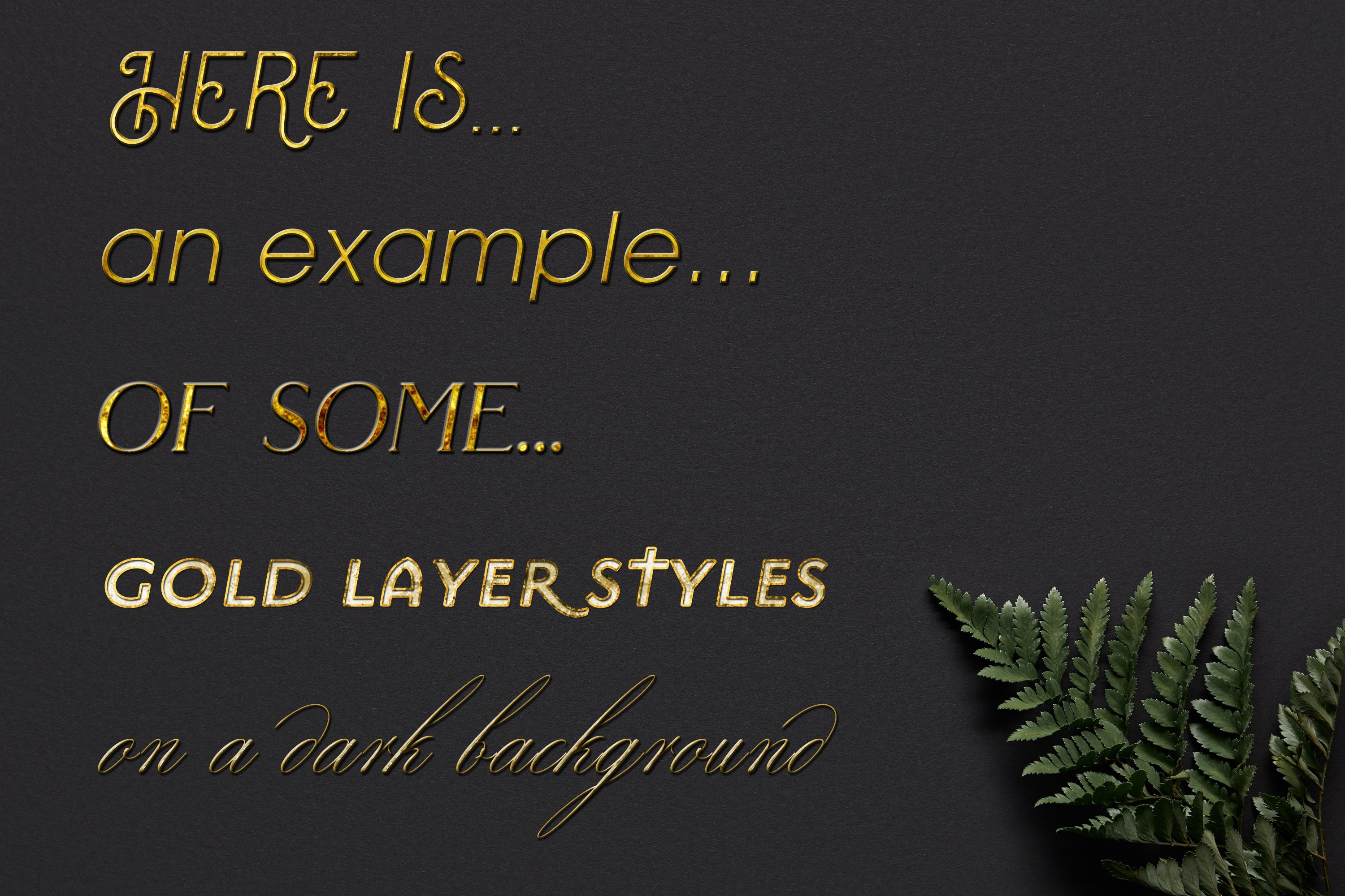60 Layer Styles Bundle for Photoshop - Gold, Rose G, Silver example image 2