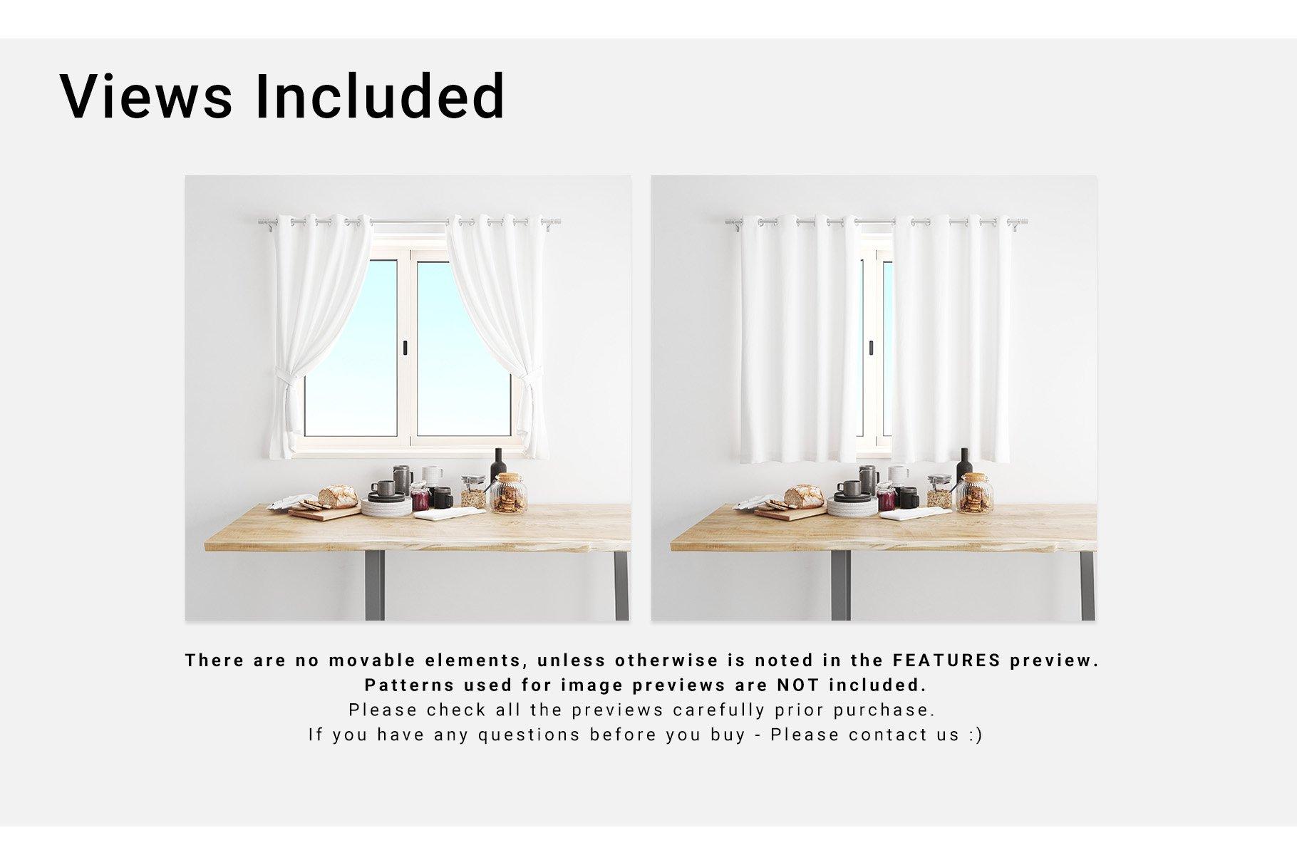 Kitchen Short Curtains Mockup Set example image 4