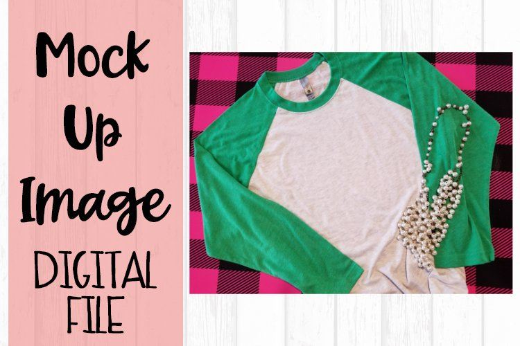 Green Raglan on Pink Buffalo Plaid Mock Up example image 1