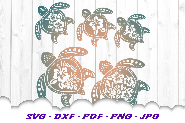 Hawaii Hibiscus Sea Turtle SVG DXF Cut Files Bundle example image 1
