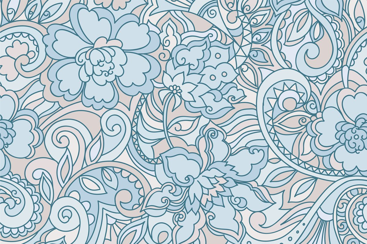Blue purple vector floral pattern example image 2