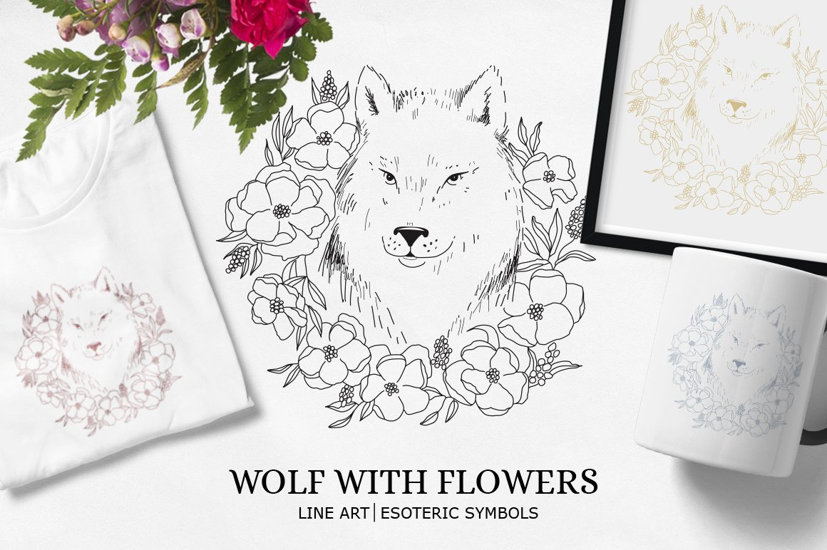 Wolf SVG / Wolf illustration / Wolf with flowers example image 1