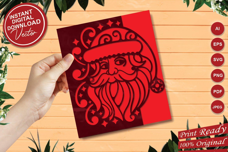 Papercut Christmas Santa Card Cover, Invitation, Spirals example image 1