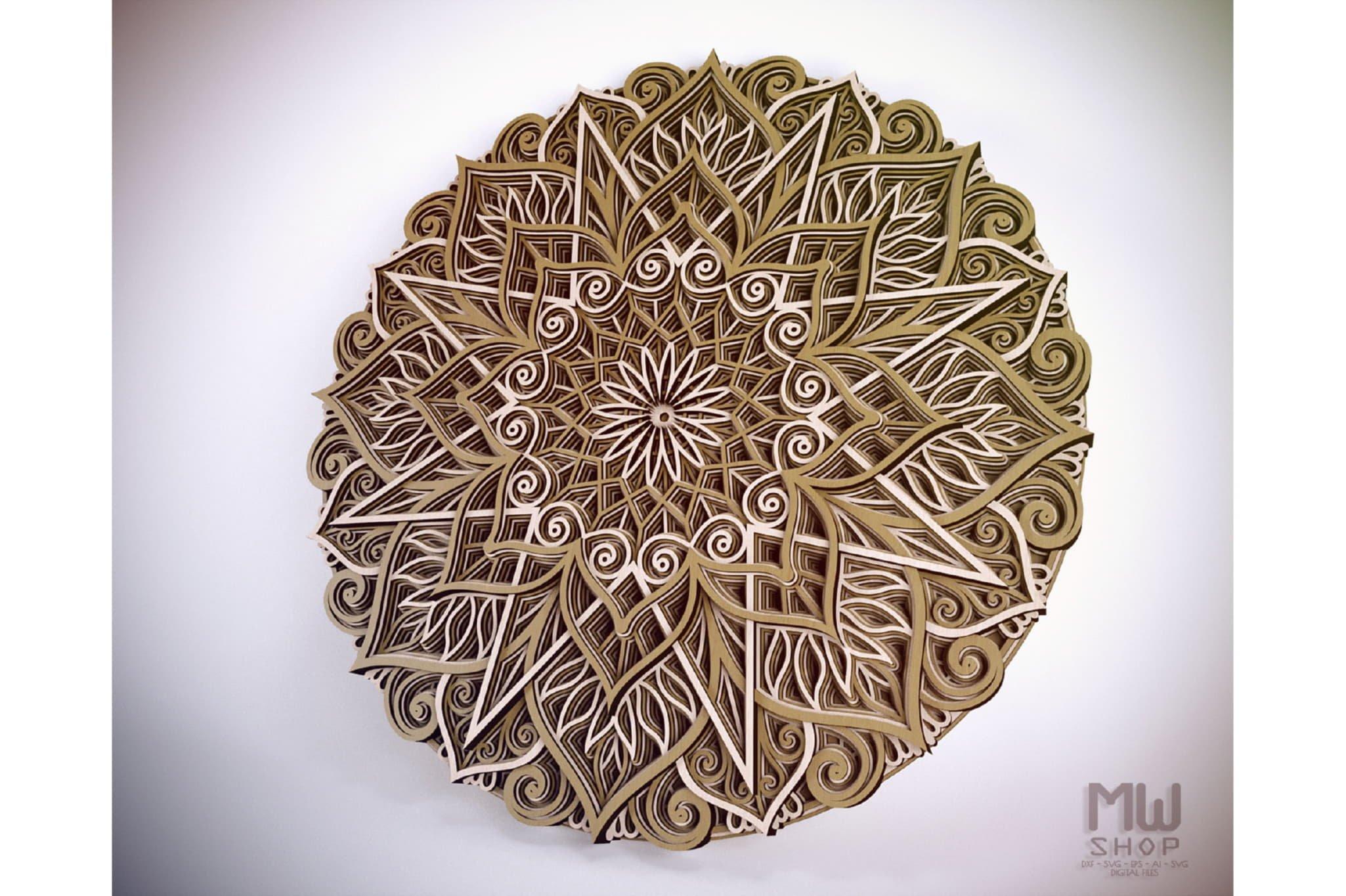 M89 - Mandala DXF Laser Cut Pattern, Flower mandala pattern example image 6
