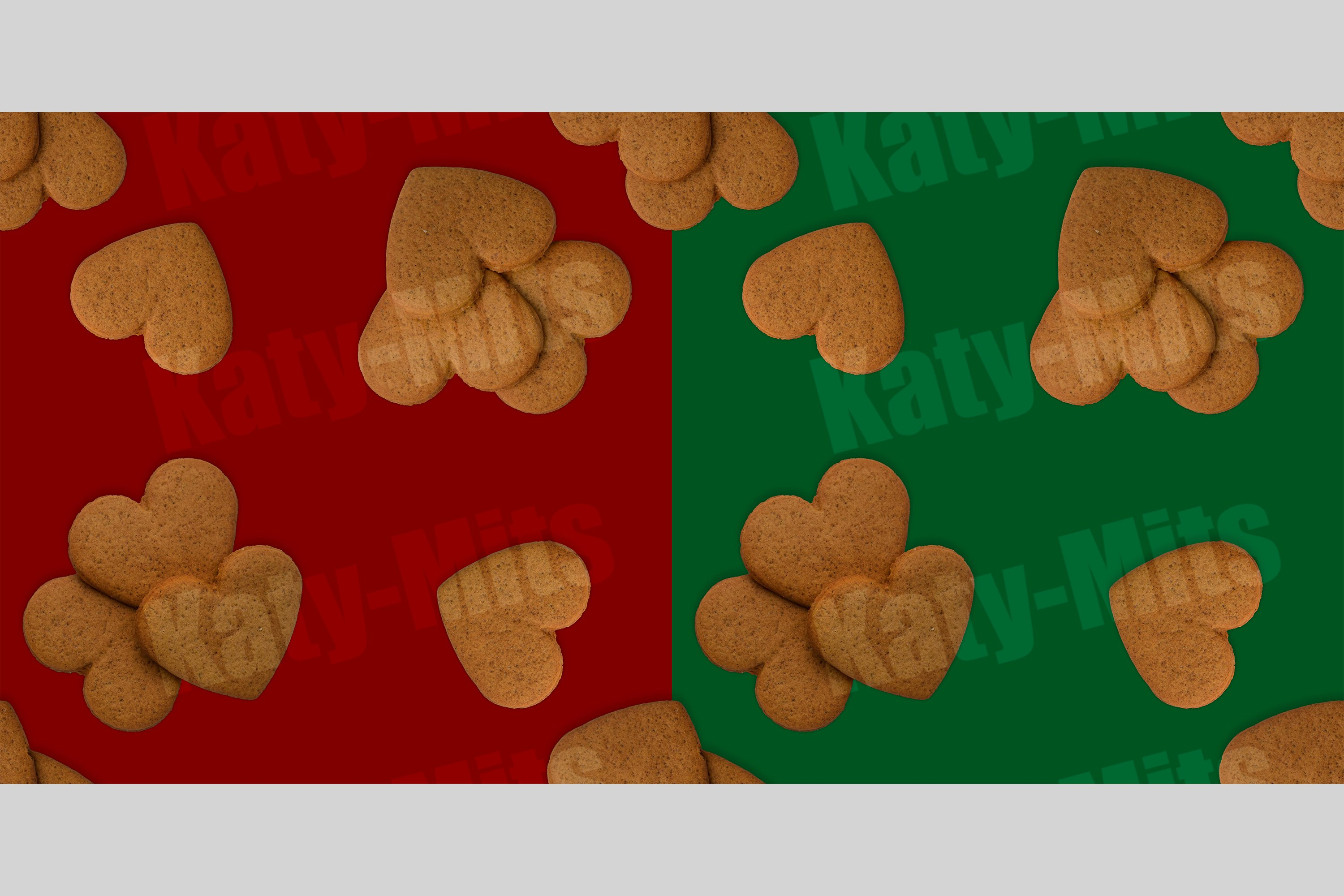 green and red seamless patterns of heart shaped cookies example image 1