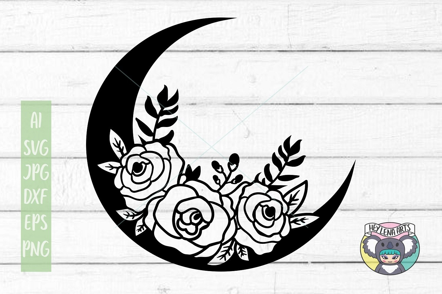 Moon svg, Floral Wreath svg, Files for Cricut, Cut File, dxf example image 1