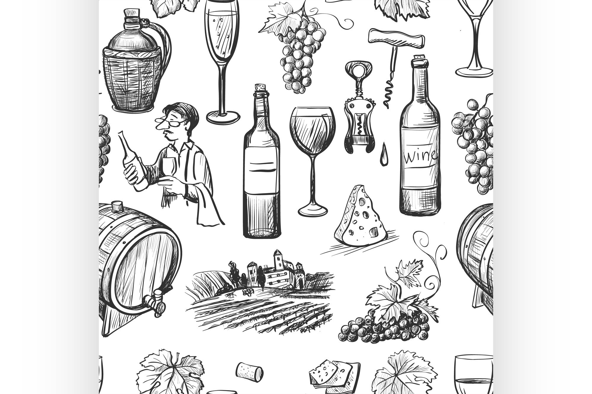 Hand drawn pattern of wine making example image 1