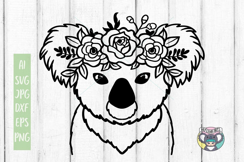 Koala svg, Koala face, Floral Wreath svg, Cricut Cut Files example image 1