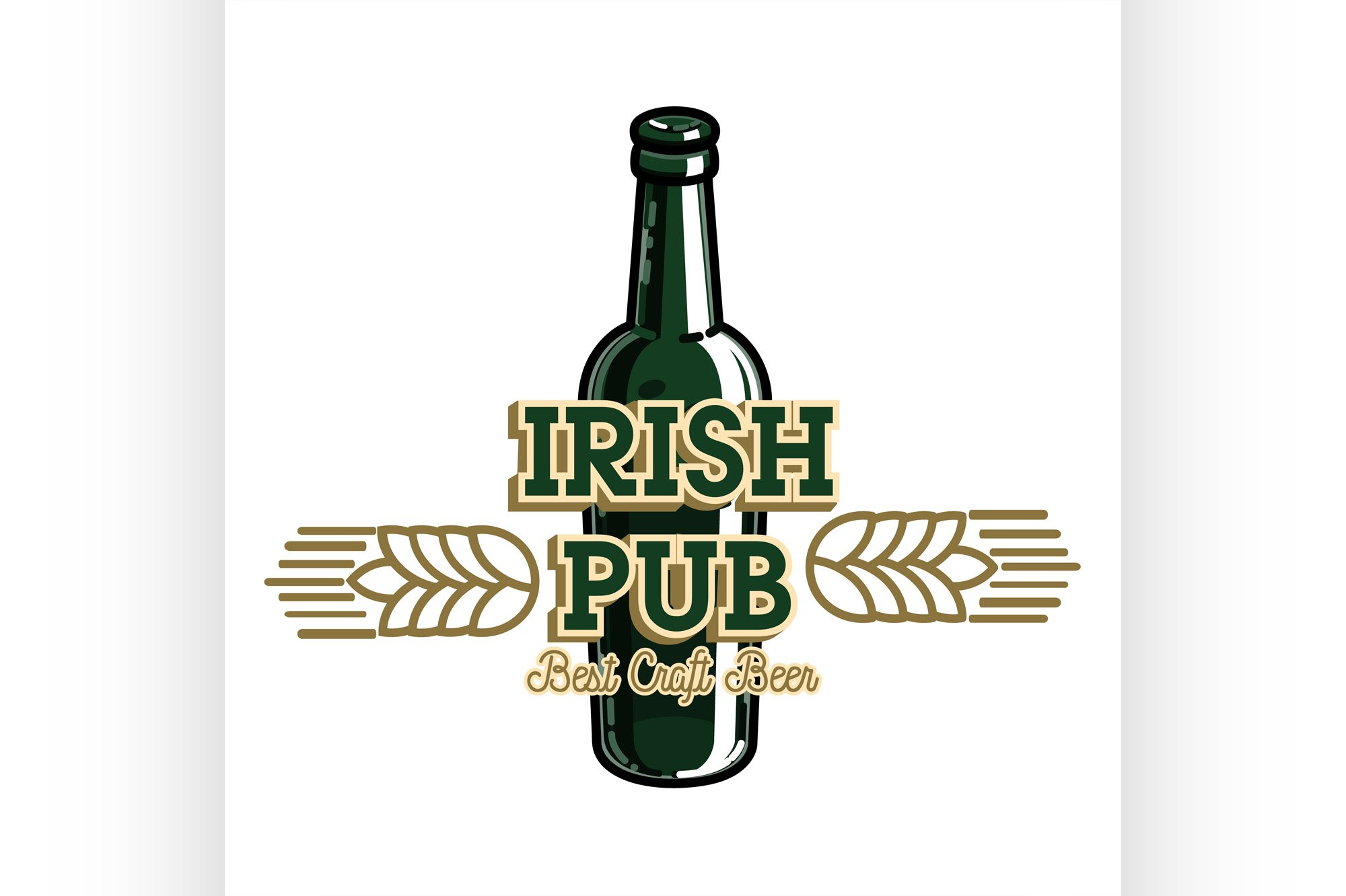 Color vintage irish pub emblem example image 1
