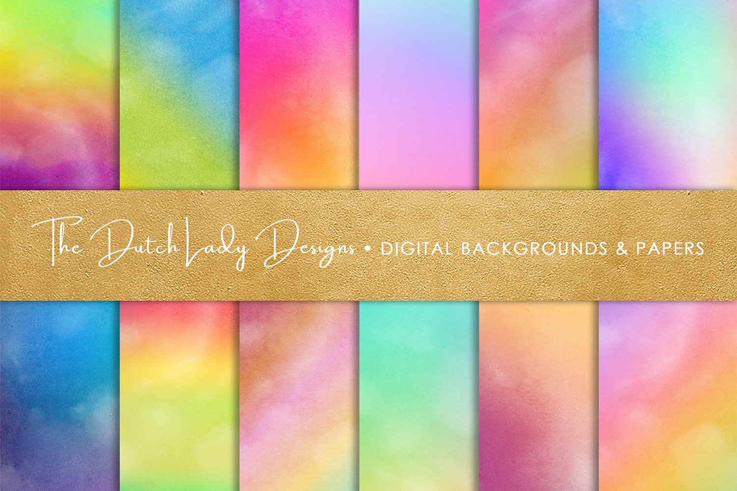 Digital Backgrounds & Papers - Distressed Rainbow Gradients example image 1