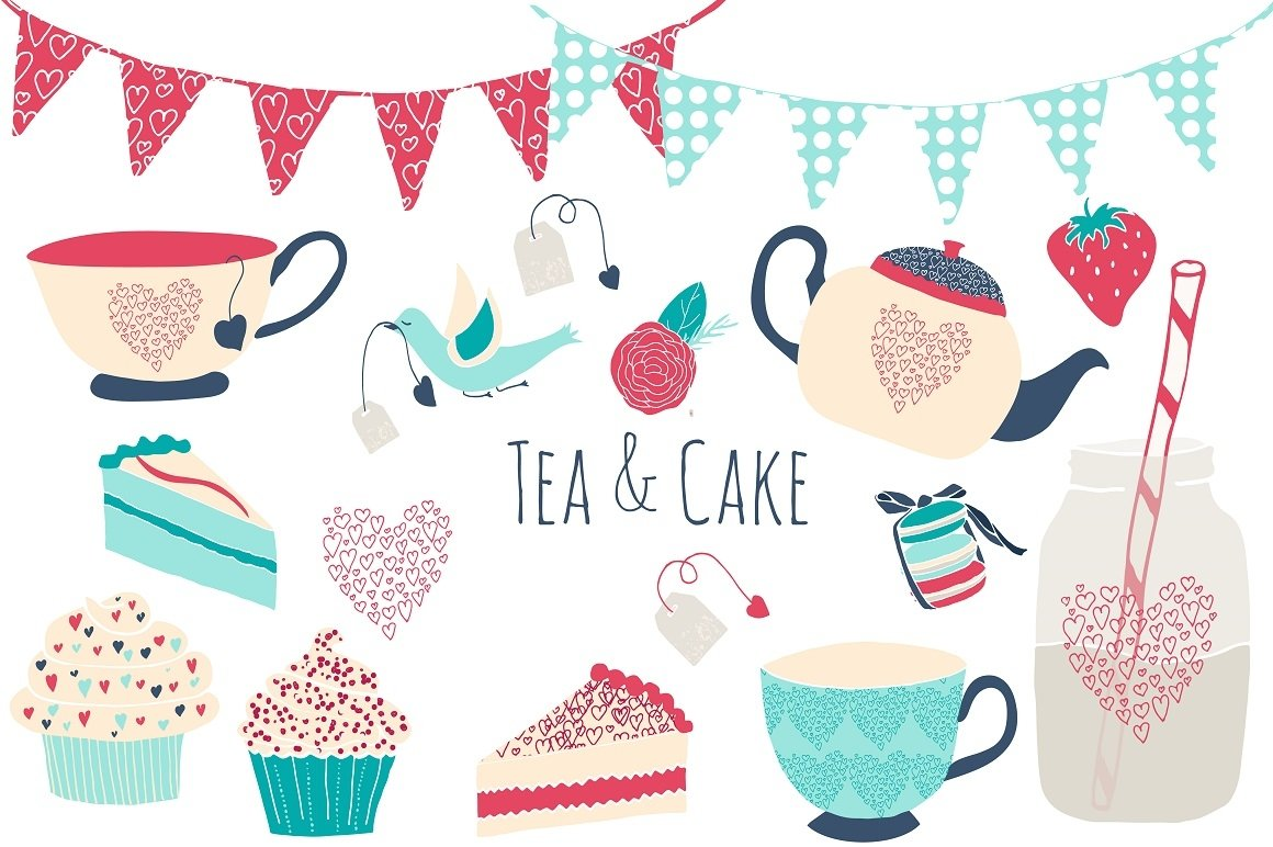 Tea & Cake Clipart and Seamless Pattern Collection - Tea Party Digital example image 3