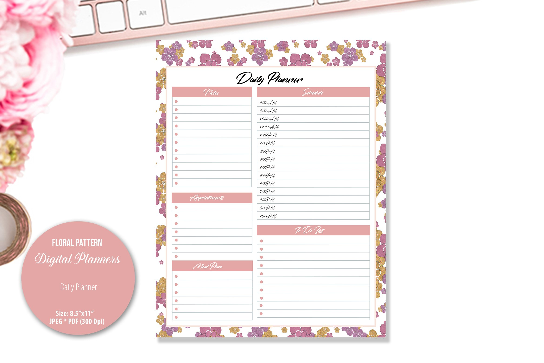 Rose Floral Pattern Digital Planner example image 2