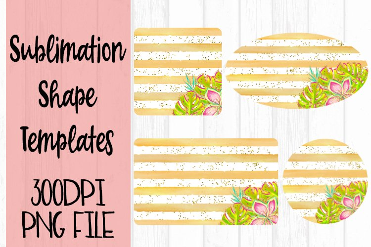 Gold Stripes with Summer Flowers Sublimation Templates example image 1