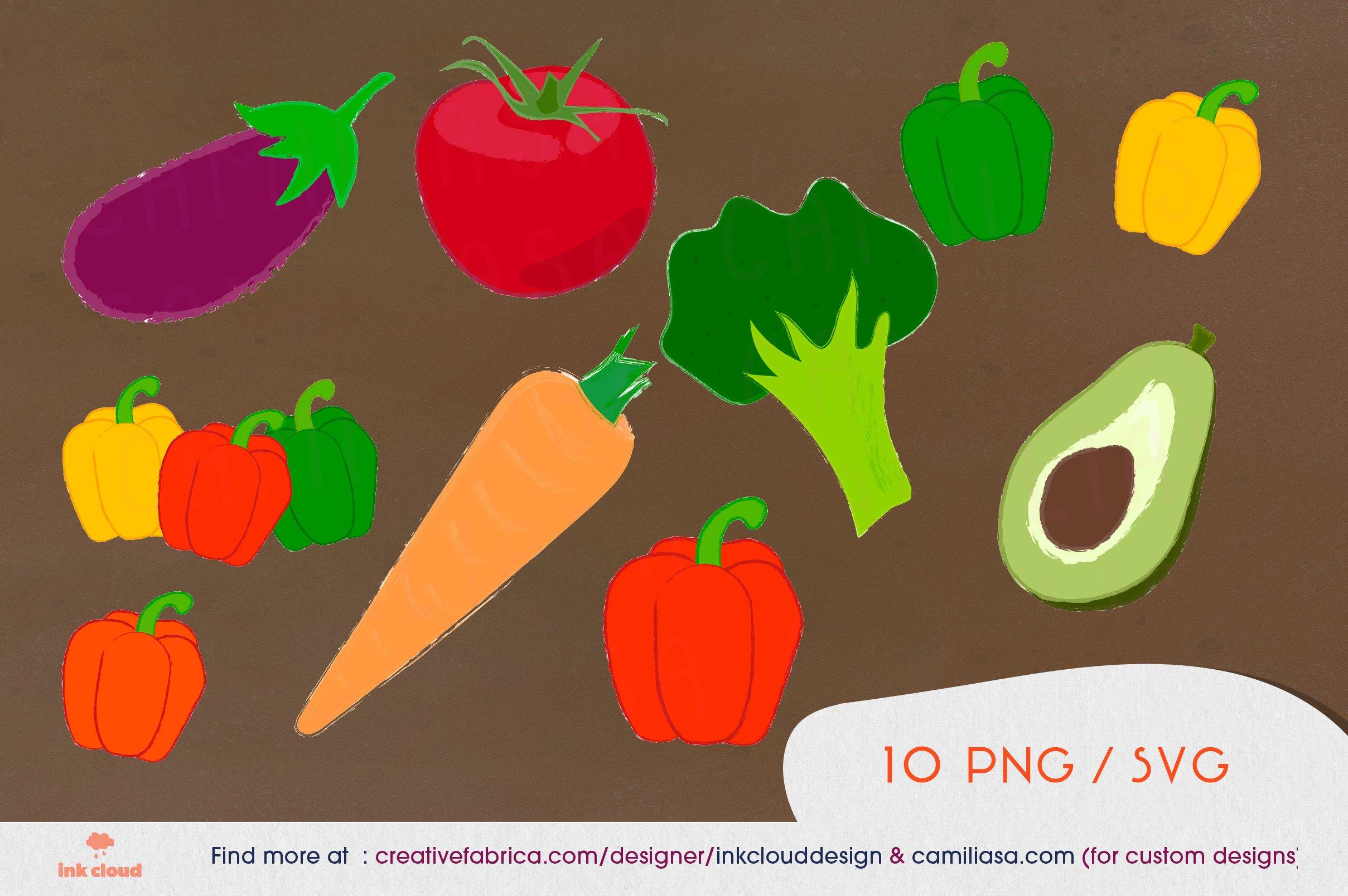 10 Vegetables Veggie Clip Art Food Kit Illustration Design 666378 Sublimation Design Bundles