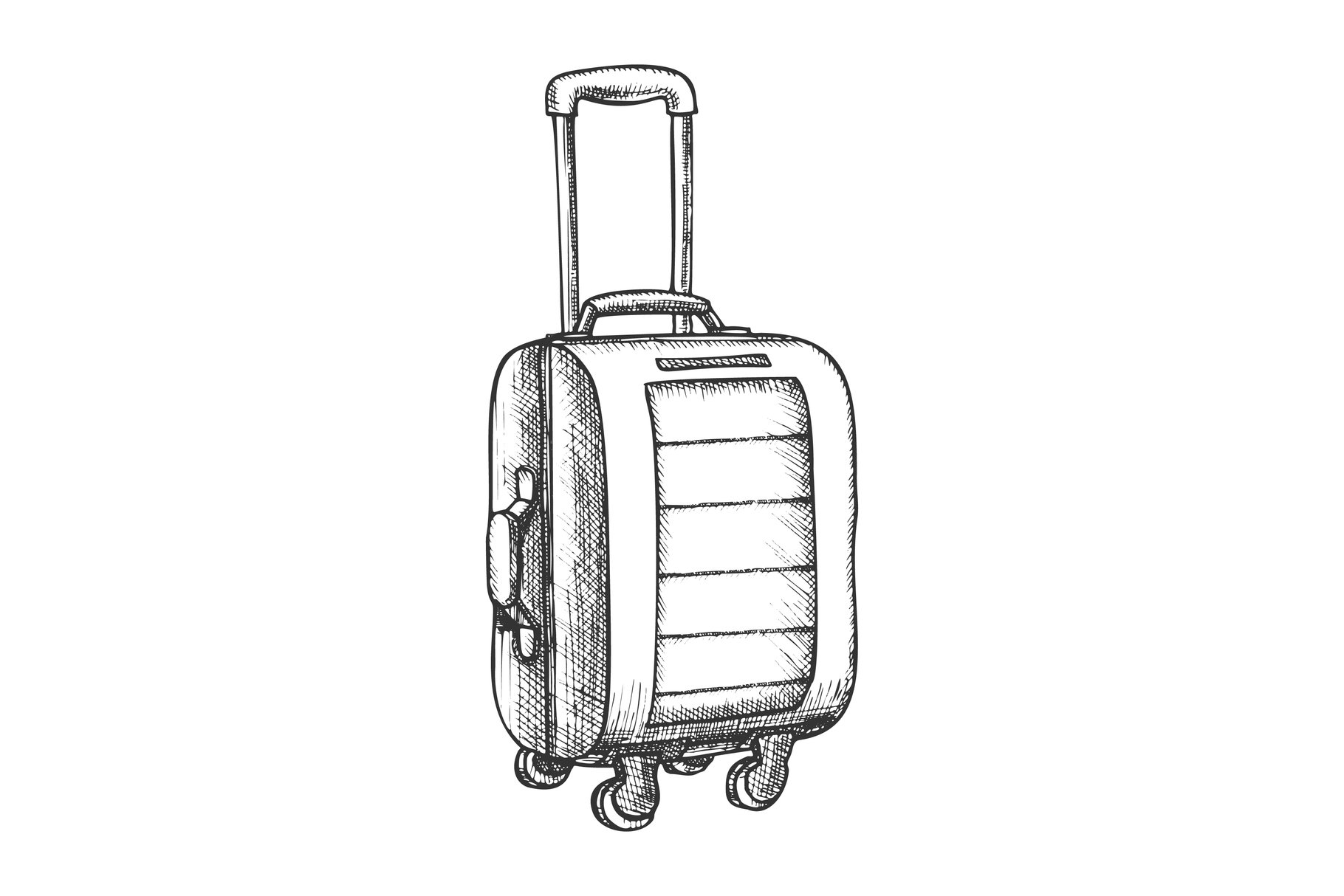 Suitcase On Wheels With Handle Vintage Vector example image 1