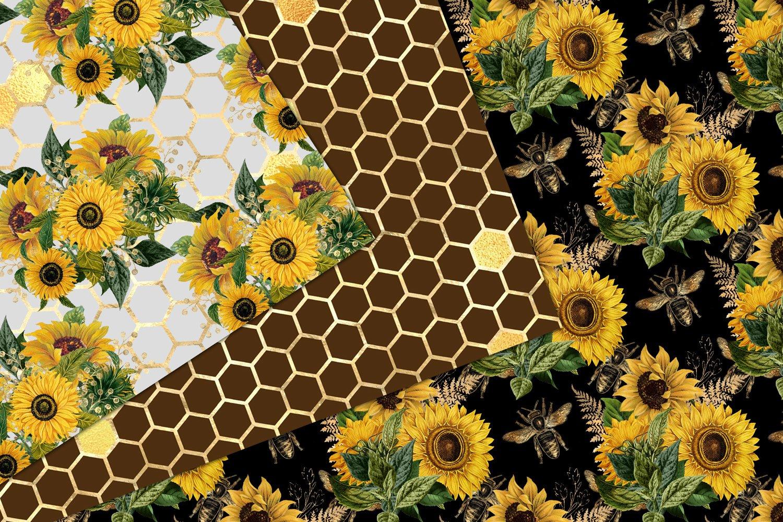 Sunflower Bees Digital Paper (586439)   Patterns   Design ...