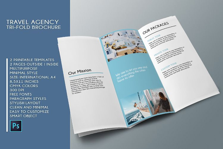 Trifold Agency Travel Brochure Editable PSD Templates example image 8