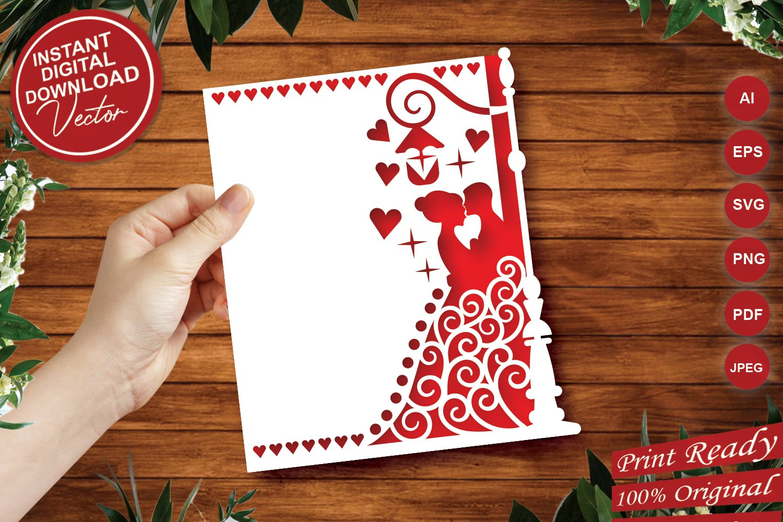 Papercut Wedding Couple, Hearts, Spirals, Street Light example image 1