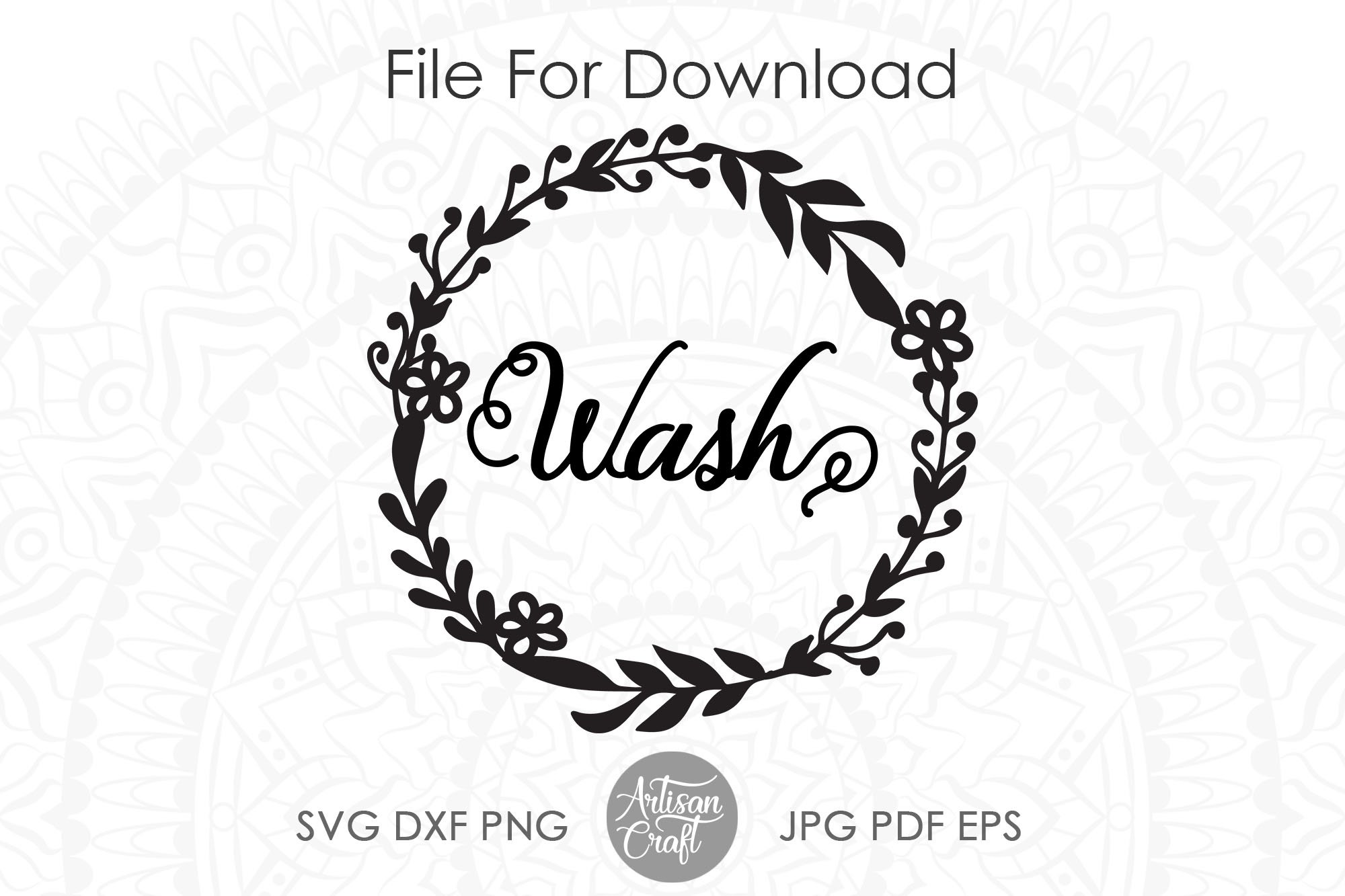 Wash dry svg, washer dryer decals, floral wreath png example image 2