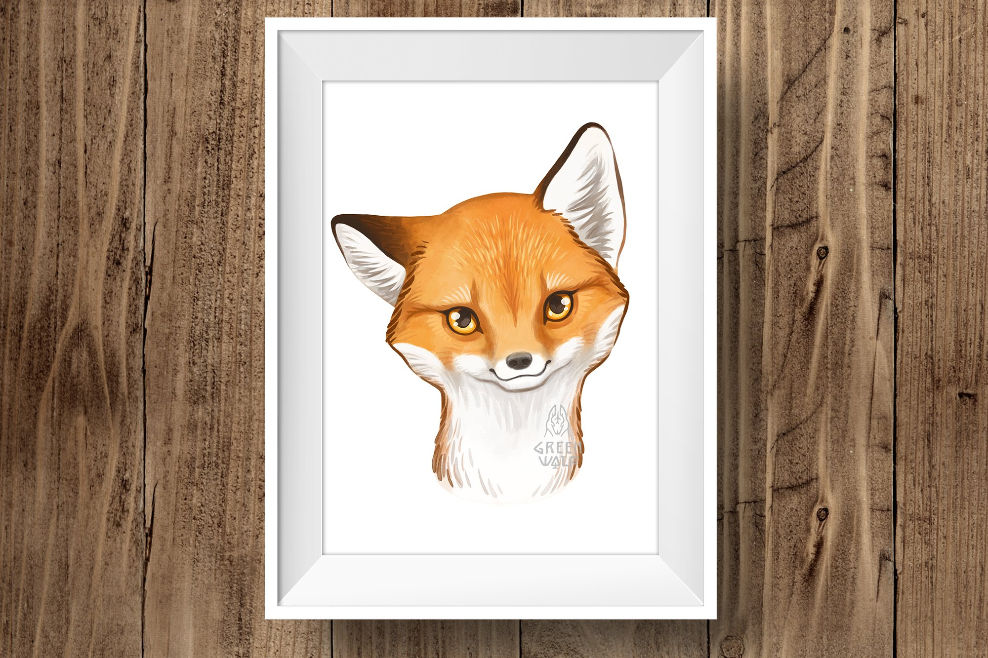 Baby fox drawing Watercolor art Forest animal clipart PNG example image 5