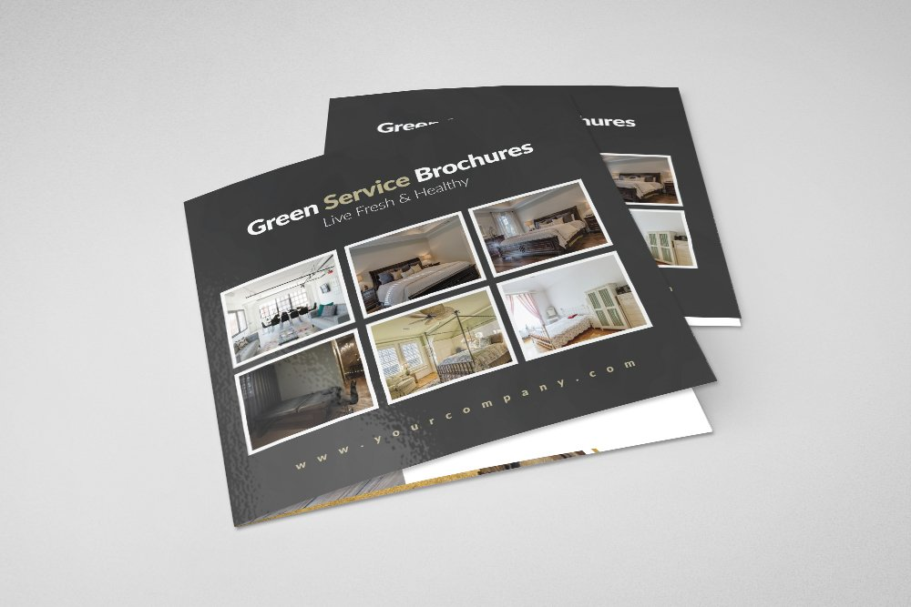 Luxury Hotel Square Trifold Brochure example image 1