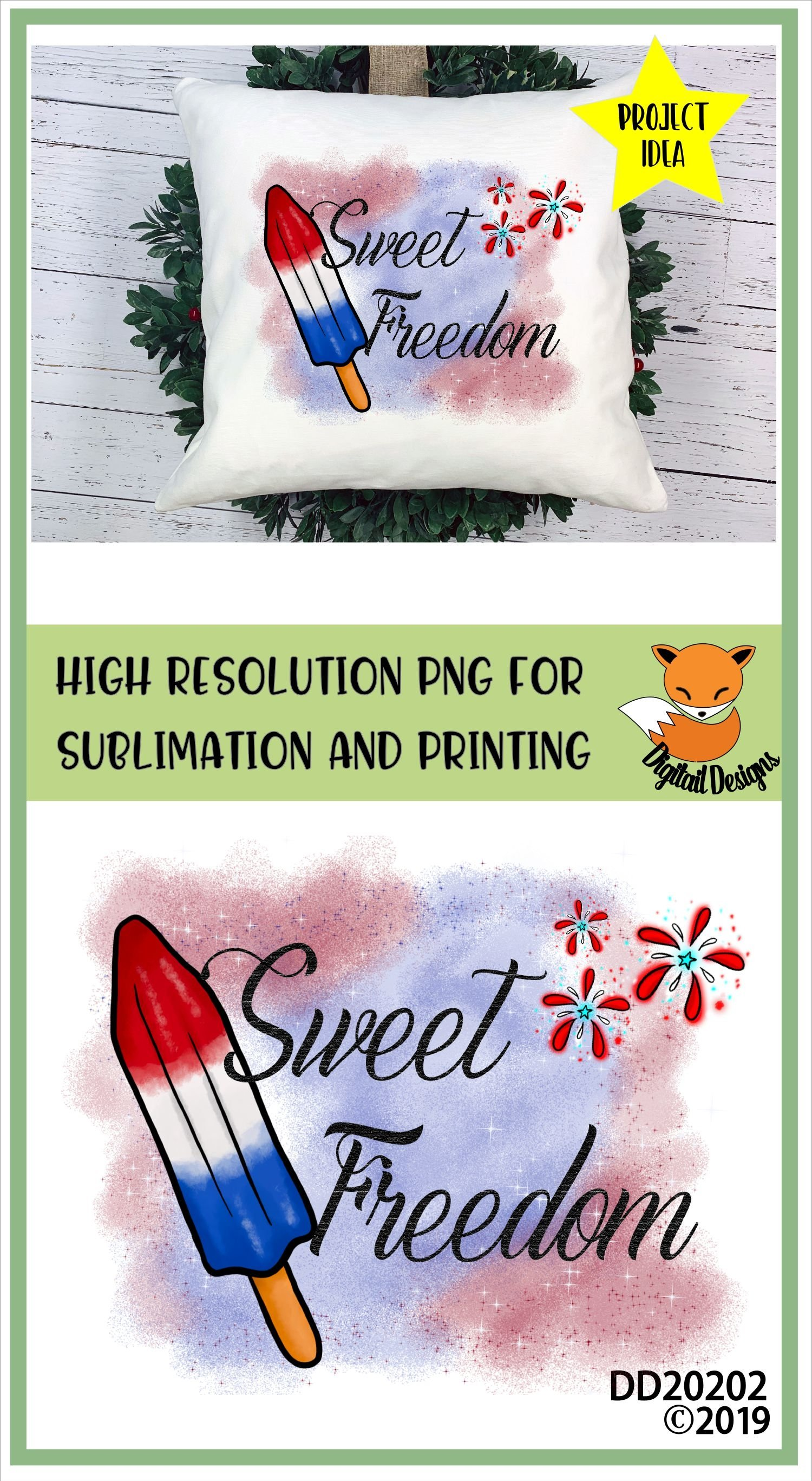 Patriotic Sweet Freedom Popsicle Sublimation example image 2