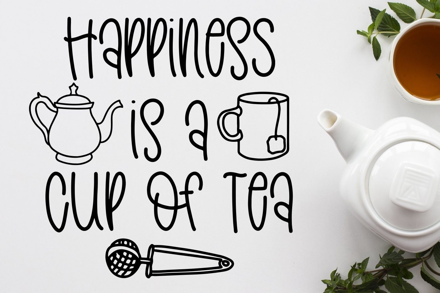 Teashop Font Duo With Tea Inspired Doodles example image 3