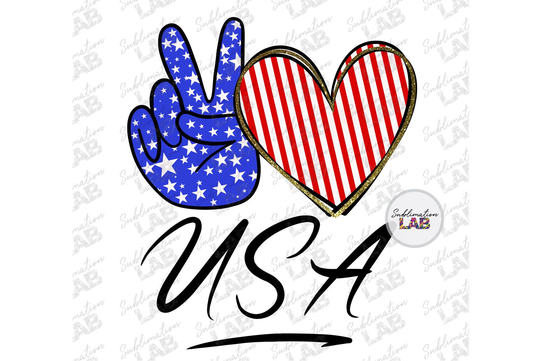 Peace Love USA 4th of July Patriotic Sublimation Download example image 1