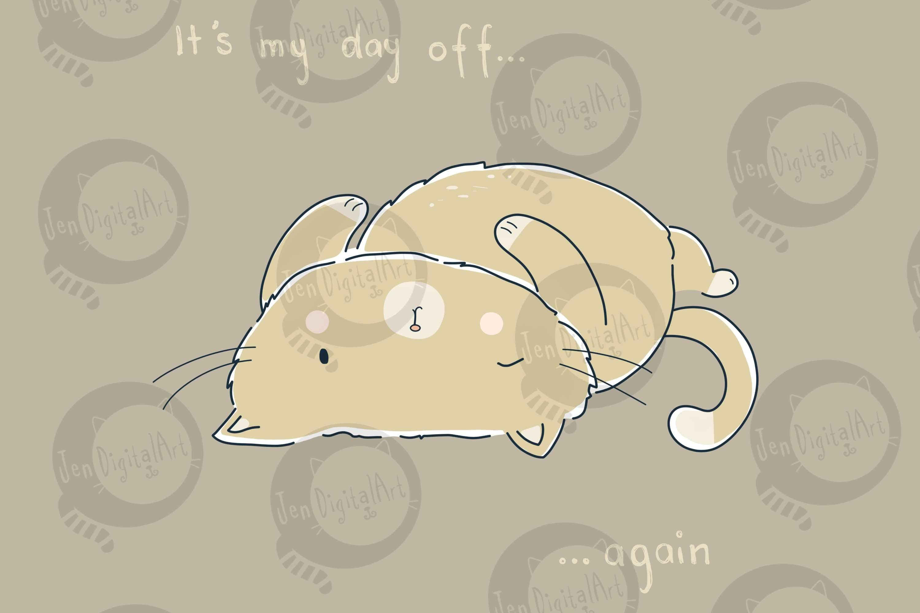 Day Off Cat | Clip Art Illustration | PNG/JPEG example image 1