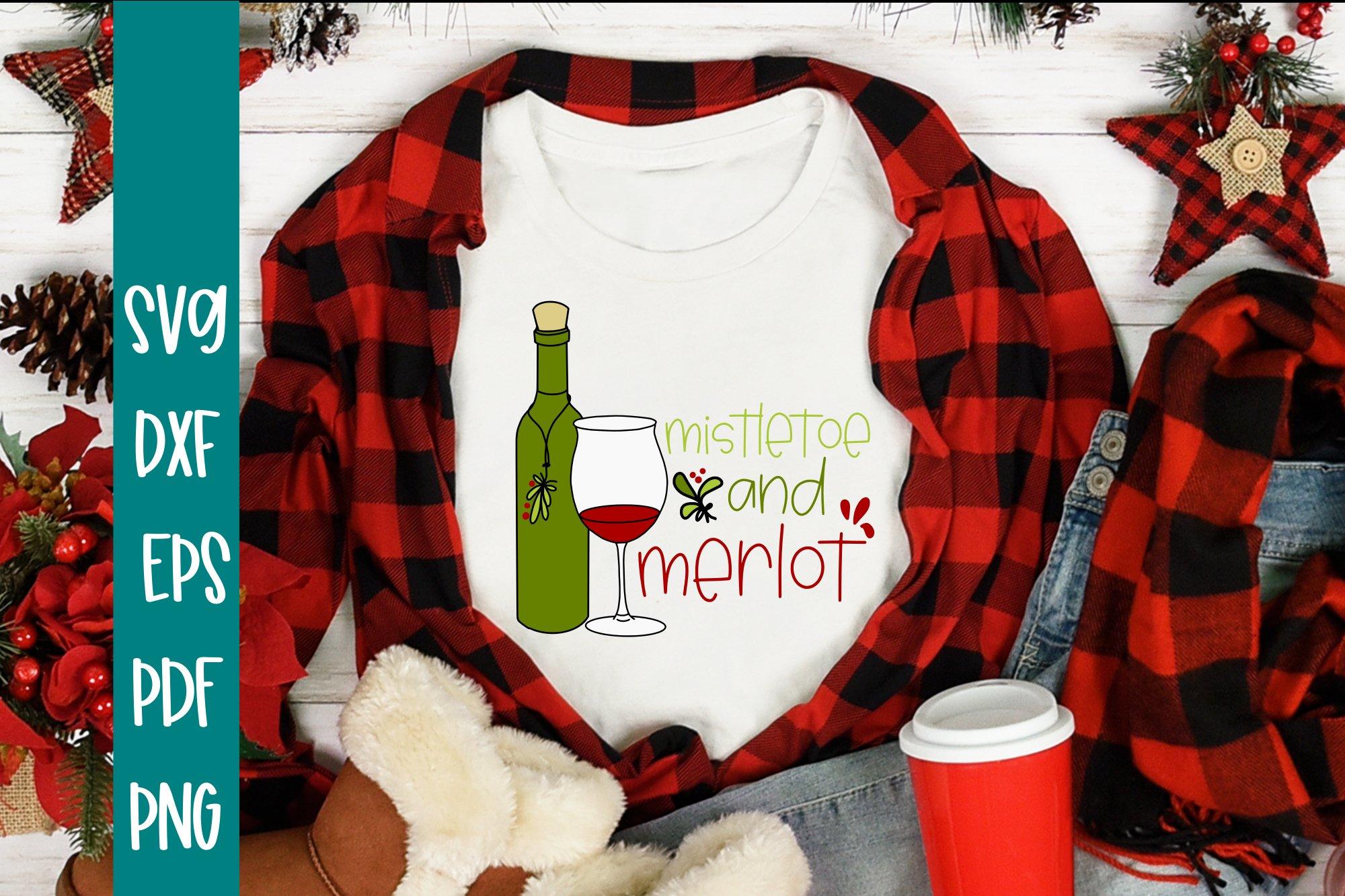 Mistletoe and Merlot Christmas SVG example image 1