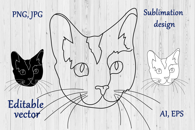 Cat Outline Sublimation Design - Modern Line Art example image 1