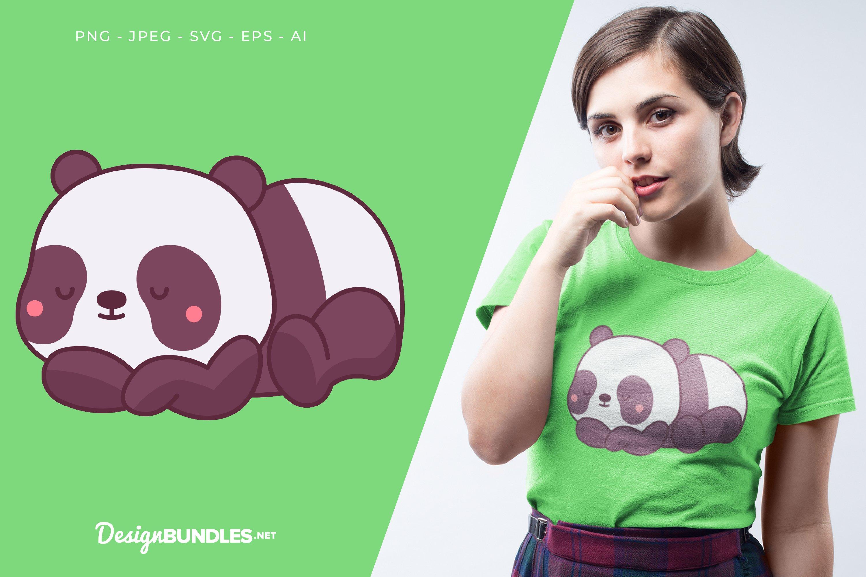 Sleeping Panda Vector Illustration For T-Shirt Design example image 1