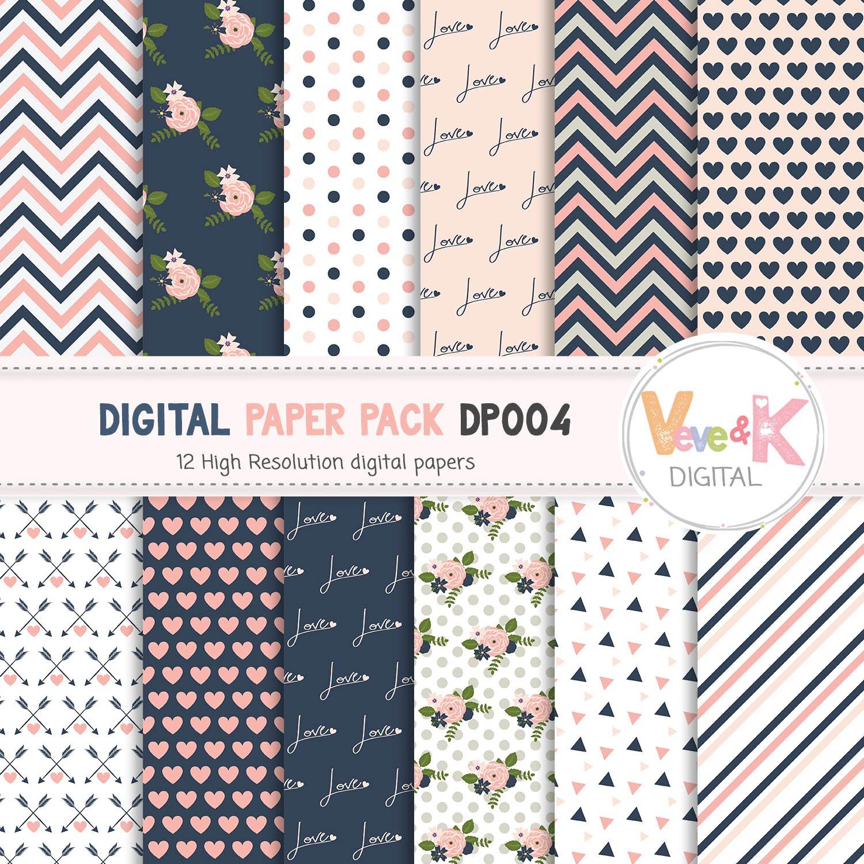Navy and Pink Digital Paper Pack, Scrapbook Digital Paper ...