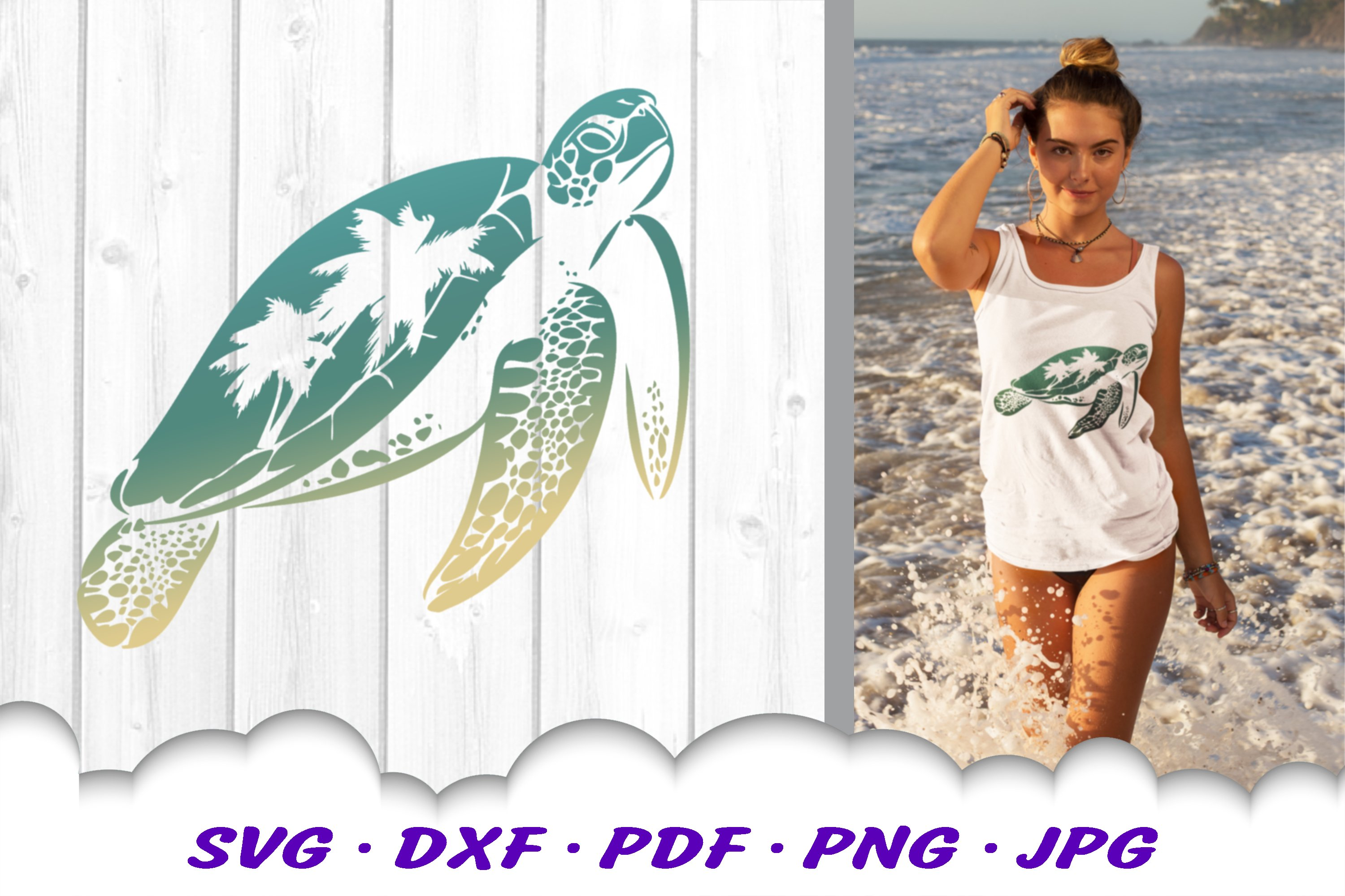 Sea Turtle Palm Tree SVG DXF Cut Files example image 4