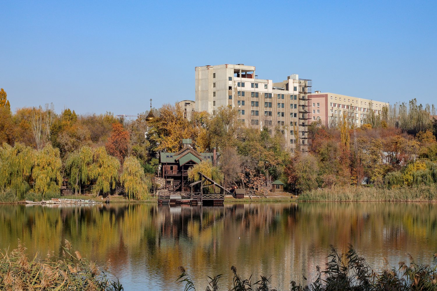 urban landscape view of the building and the forest example image 1