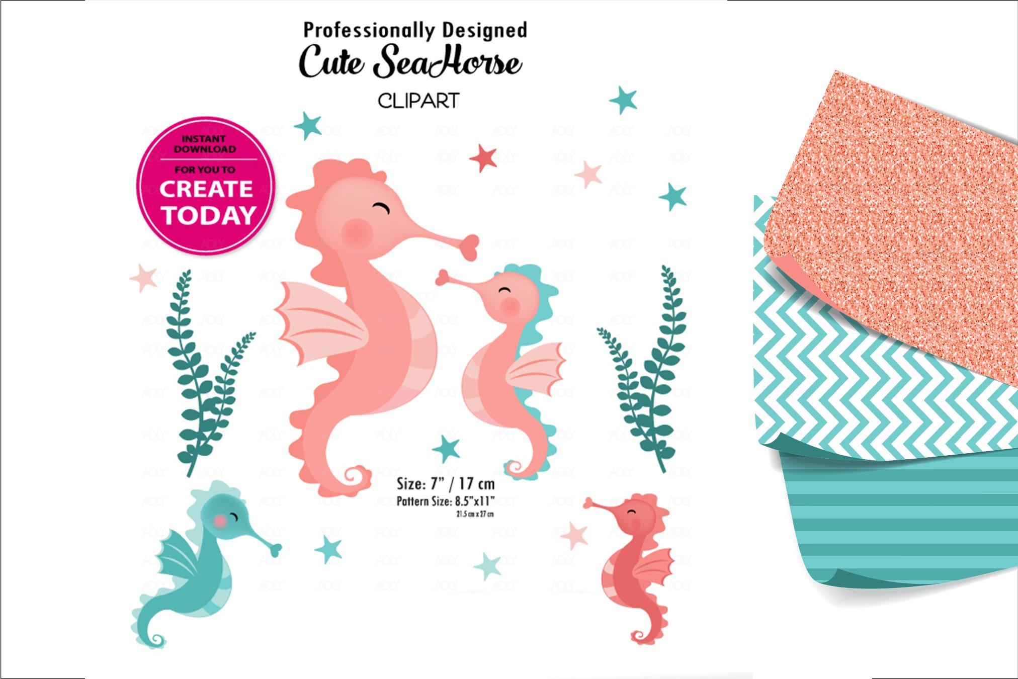 Little Baby Coral And Teal Seahorse Clip Art Design For Diy 362862 Illustrations Design Bundles