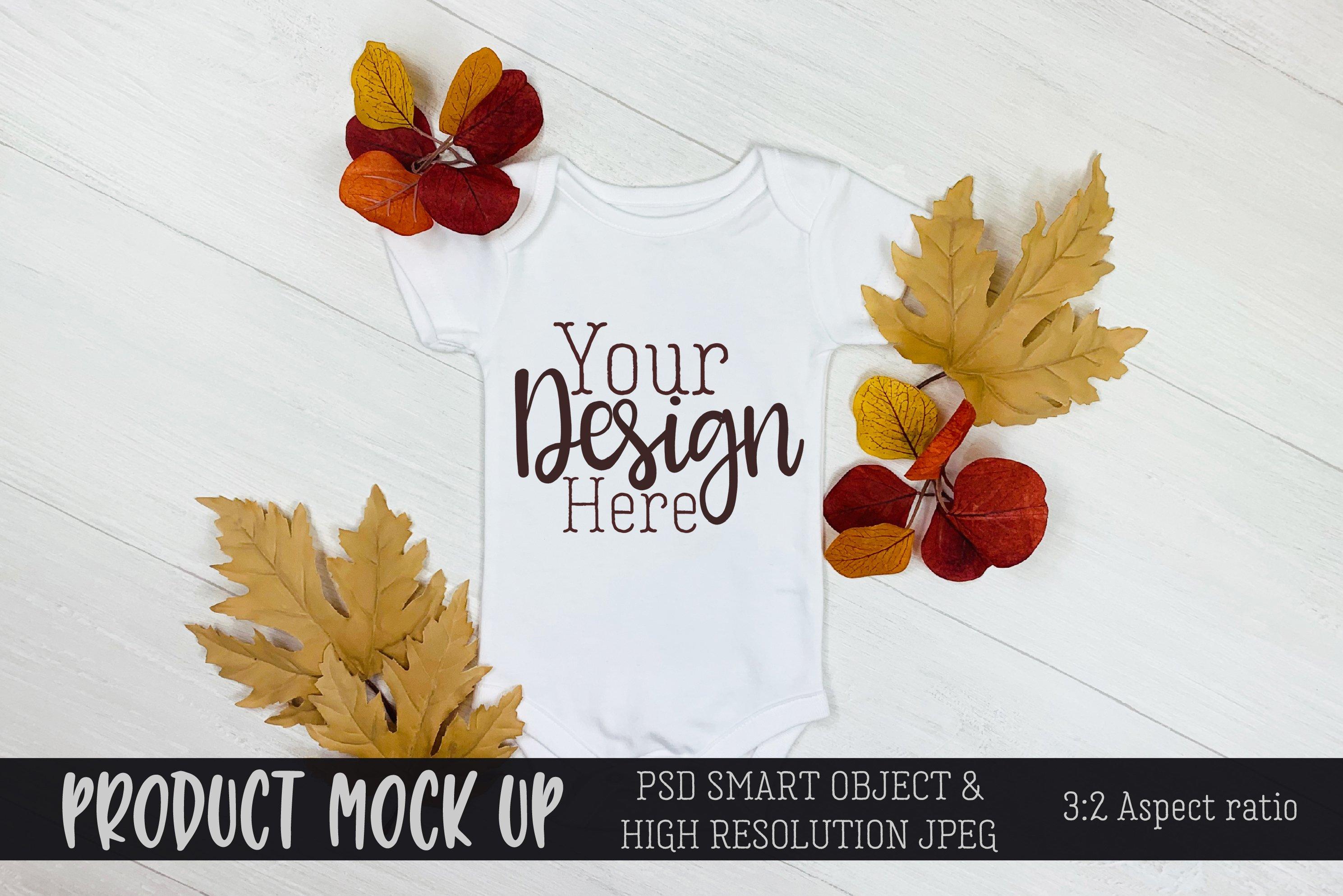 Fall baby bodysuit Craft mock up | PSD & JPEG example image 1