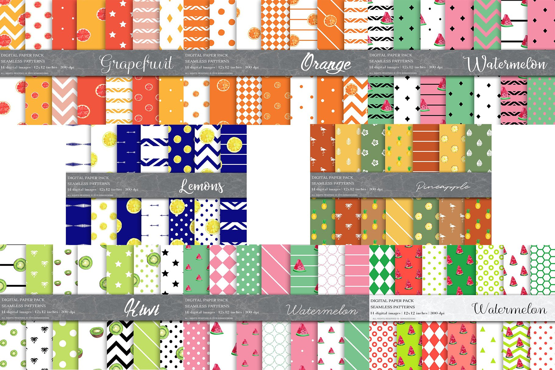 Watercolor Fruit Patterns Bundle example image 3