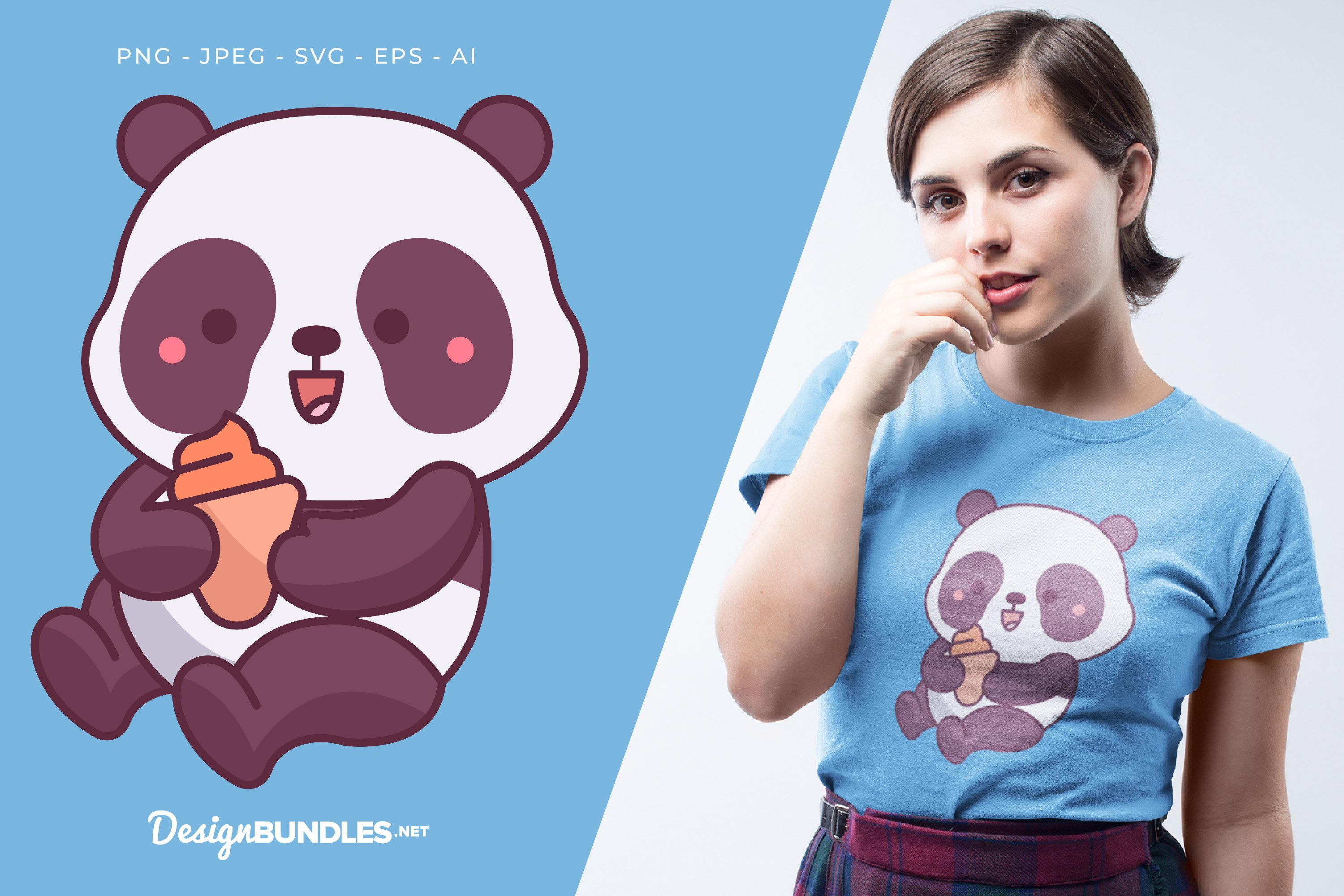 Panda Holds Ice Cream Vector Illustration For T-Shirt Design example image 1