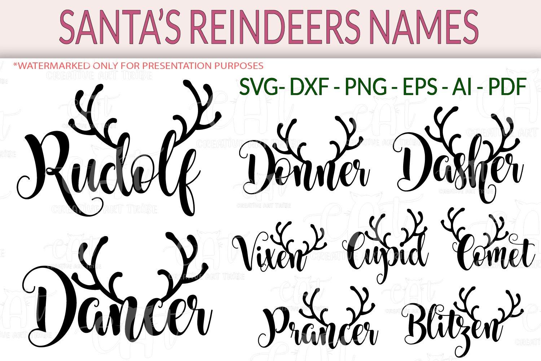 Santa S Reindeer Names Bundle Cut Files Svg Dxf Png Eps 992948 Cut Files Design Bundles