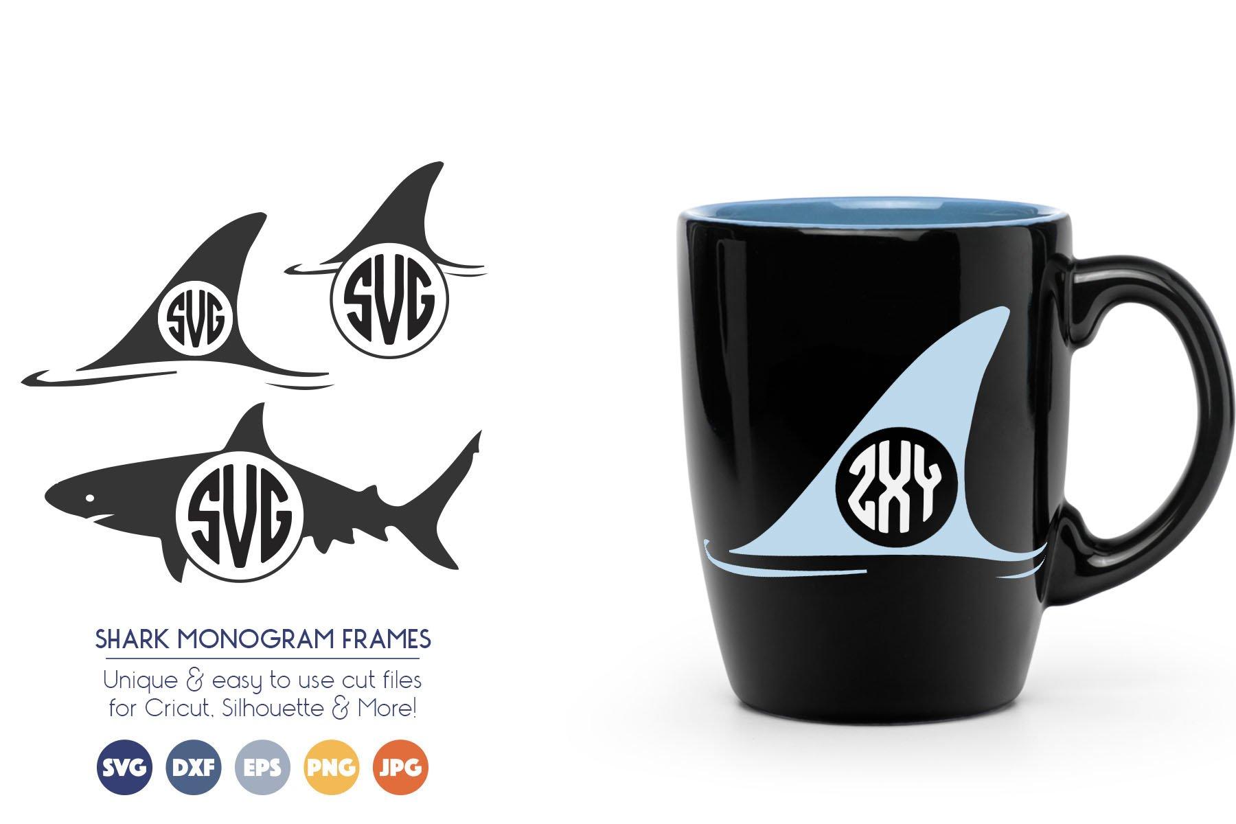 Shark Monogram Frame SVG Cut Files - Shark Fin example image 1