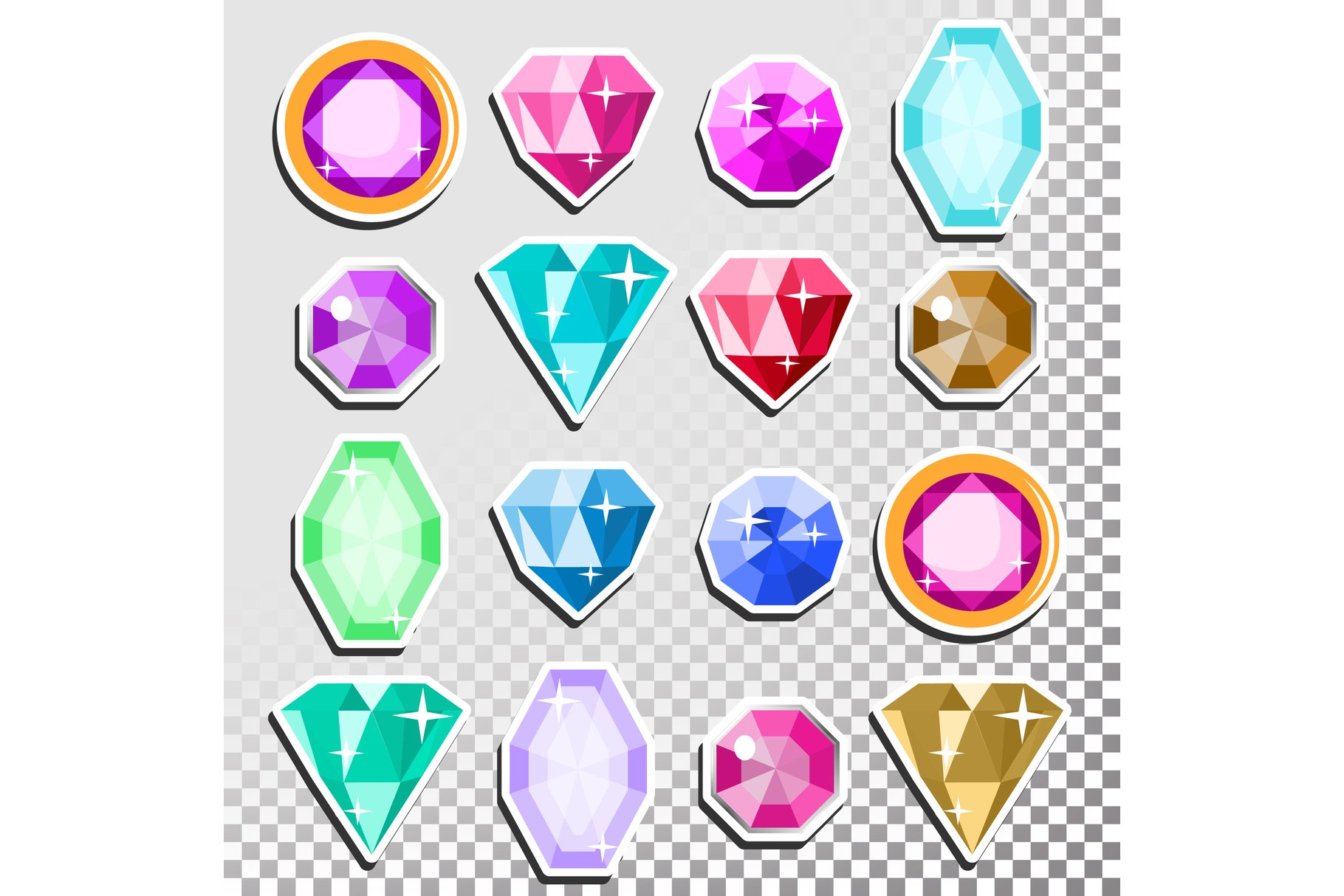 Gems Isolated Vector. Precious Stones Shimmer And Shine. example image 1