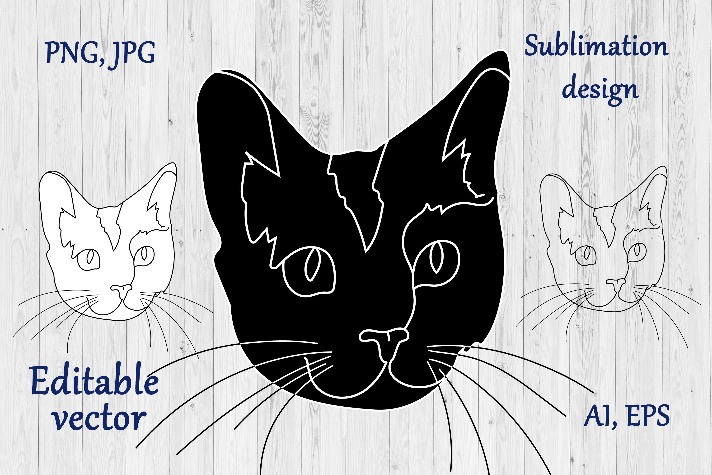Cat Outline Sublimation Design - Modern Line Art example image 3