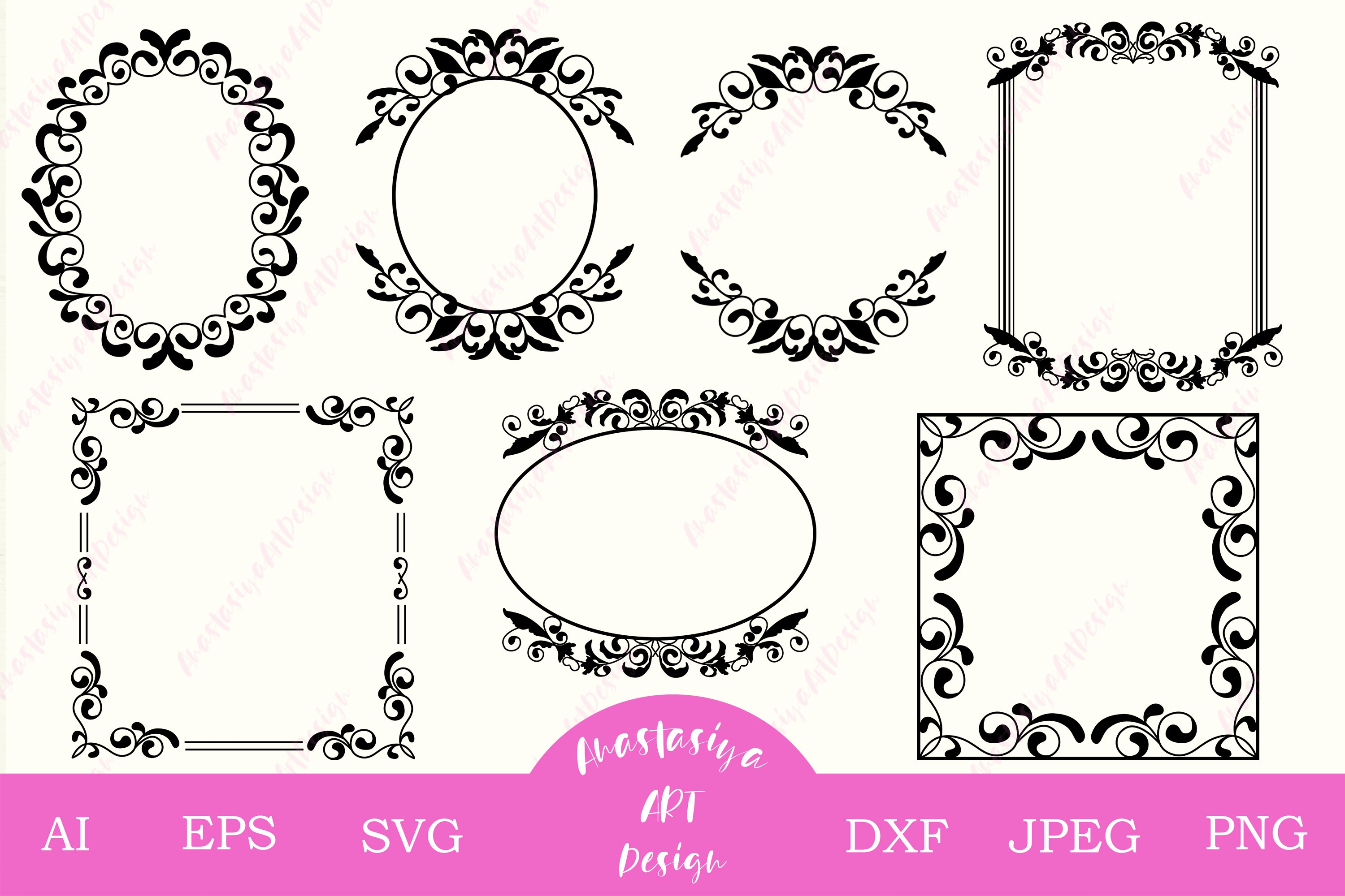 Vintage Frame Bundle Svg Cut File Monogram Frame Silhouette 558231 Cut Files Design Bundles