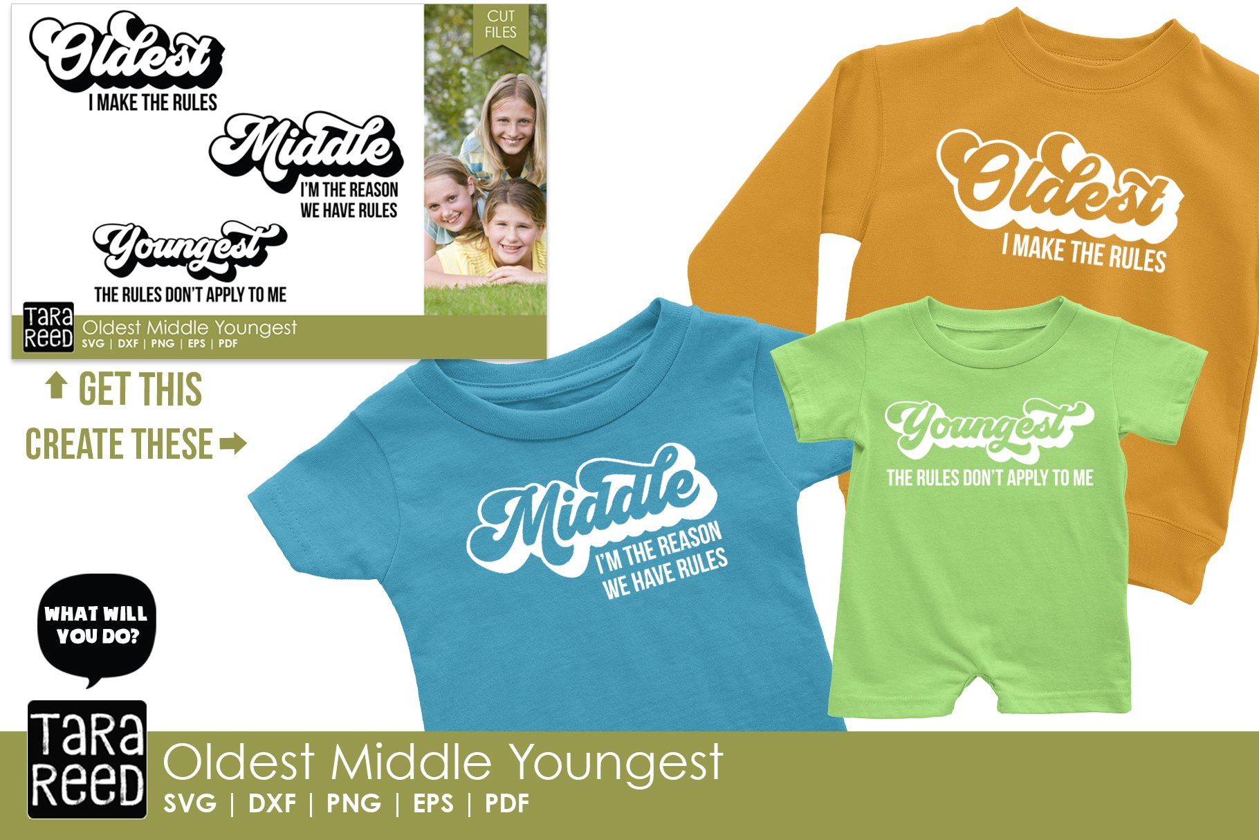 Oldest Middle And Youngest Siblings Family Cut Files 223328 Cut Files Design Bundles
