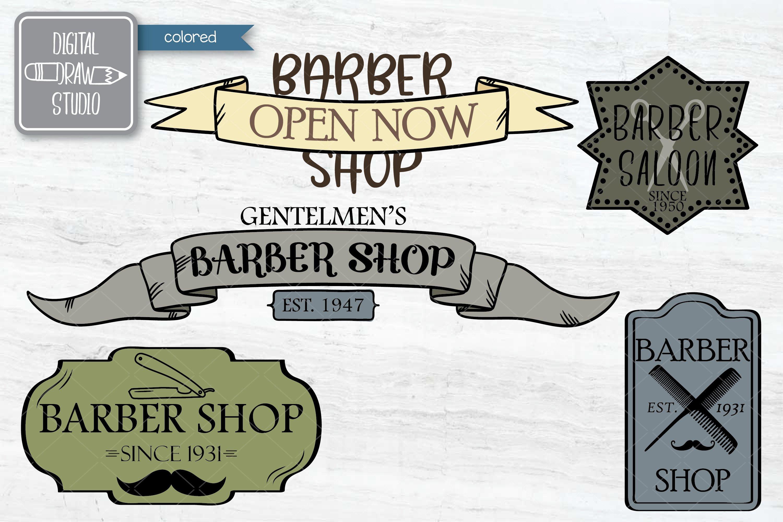 Hand Drawn Barber Shop Logo| Retro Hairdresser | Esp Svg Png example image 2