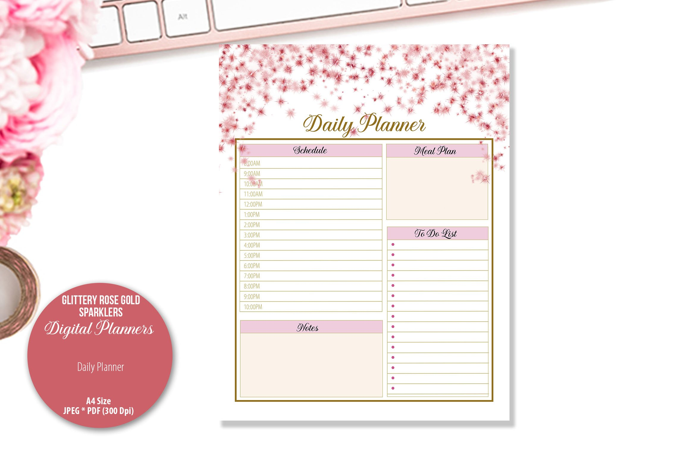 Glittery Rose Gold Sparklers Digital Planner example image 2