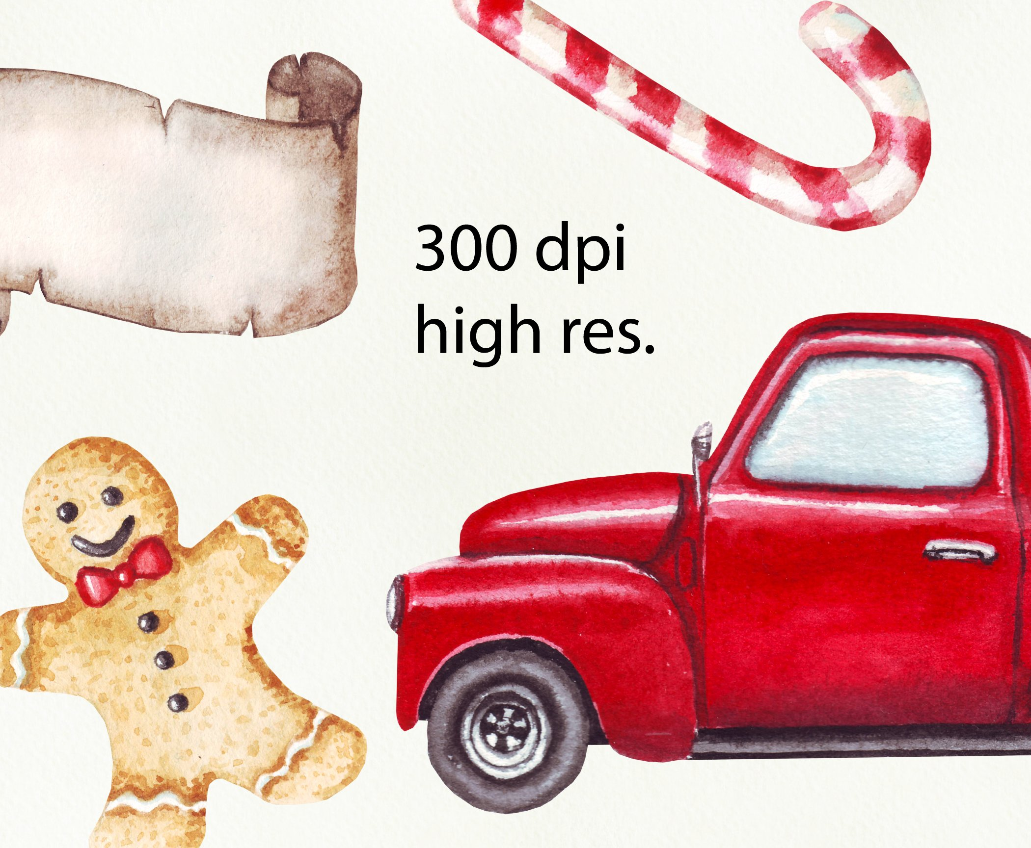 Watercolor Merry Christmas clipart png example image 2